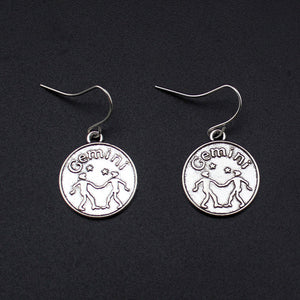 Round Zodiac Sign Dangle Earrings