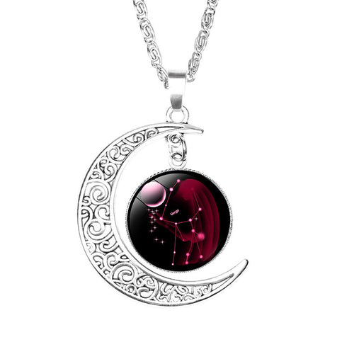 Zodiac Constellation Crescent Moon Necklace