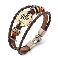 Men's Braided Leather Zodiac Punk Bracelet