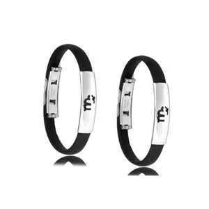 Men's Black & Stainless Zodiac Bracelet