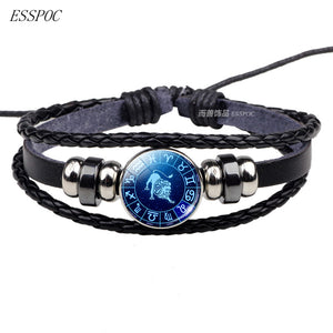 Braided Leather Zodiac Bracelet