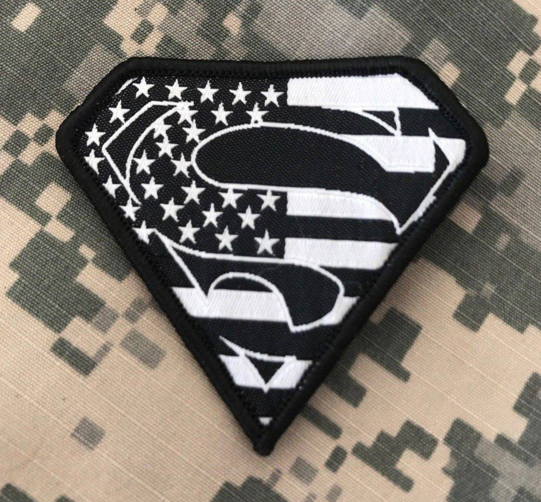 BuckUp Tactical Morale Patch Hook Superman USA Black Patches 2.75