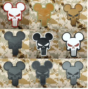 BuckUp Tactical Morale Patch Hook PVC Punisher Mickey Mouse Patches 2.75""