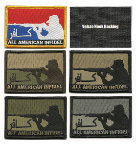BuckUp Tactical Morale Patch Hook All American INFIDEL Patches 3x2""