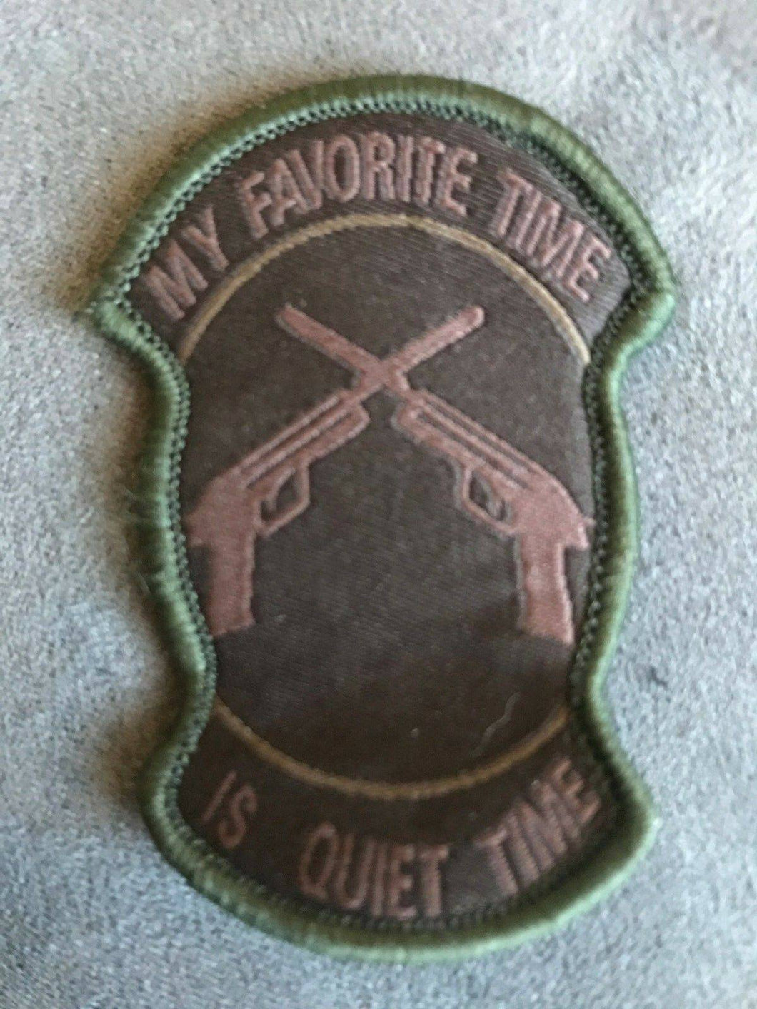 BuckUp Tactical Morale Patch Hook My Favorite Time is Quite Time Brown Patch