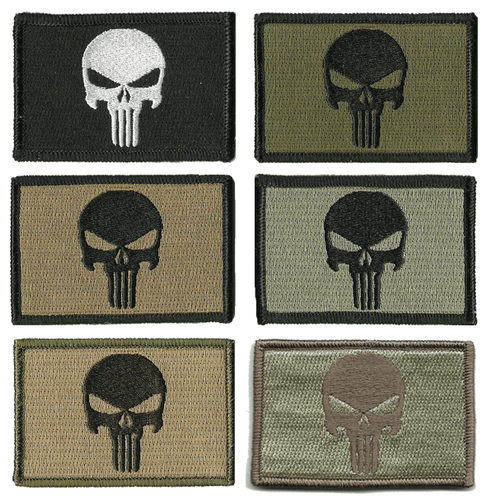 BuckUp Tactical Morale Patch Hook Punisher Patches 3x2