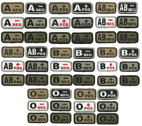 BuckUp Tactical Morale Patch Hook Blood Type A- A+ AB- AB+ B- B+ O- O+ Neg Pos