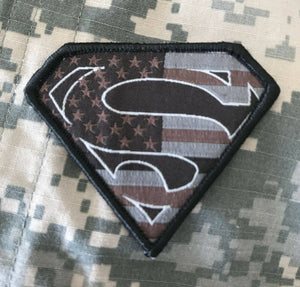 VELCRO® BRAND Hook Fastener Compatible Superman USA Black Gray Tan Patches 2.75""