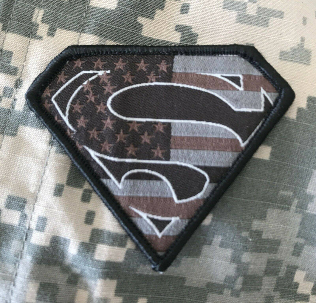 VELCRO® BRAND Hook Fastener Compatible Superman USA Black Gray Tan Patches 2.75