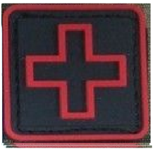 "BuckUp Tactical Morale Patch Hook Medic Cross PVC Patches 1"" Sized"