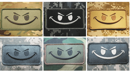 BuckUp Tactical Morale Patch Hook Smiley Face Patches 3.25x1.75