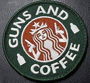 Velcro® Hook Backing Starbucks Guns and Coffee Morale Funny 3""