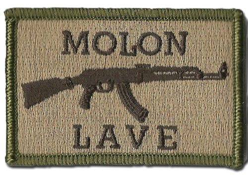 BuckUp Tactical Morale Patch Hook AK-47 Molon Labe Lave Patches 3x2