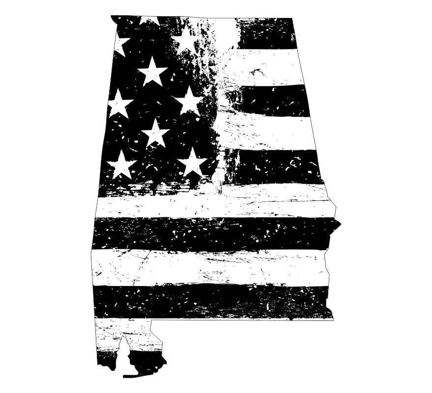 State of Alabama Black White Tattered Flag Decal - Various Sizes
