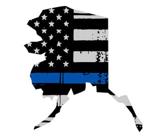 Thin Blue line decal - State of Alaska Thin Blue Line Grey tattered Flag Decal - Various Sizes