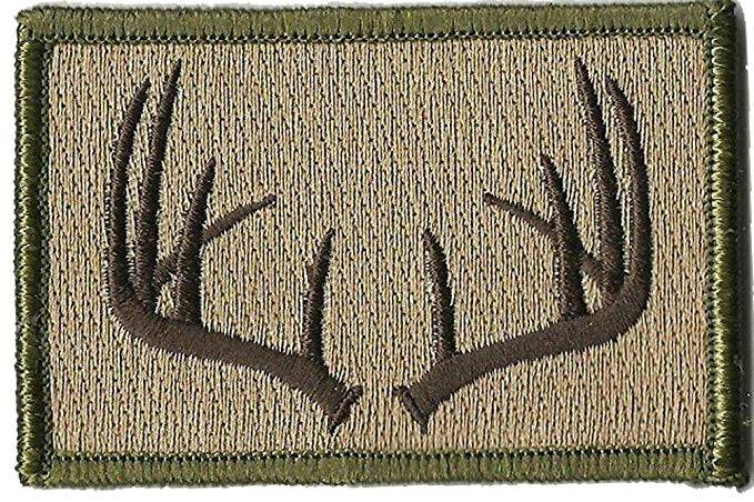 BuckUp Tactical Morale Patch Hook Antlers Deer Wildlife Hunter Hunt Patches 3x2