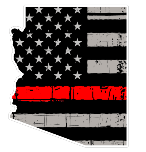 Thin Red line decal - State of Arizona Grey Tattered Flag Decal - Various Sizes