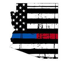 Thin Blue Red line decal - State of Arizona tattered Flag Decal - Various Sizes