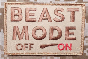 BuckUp Tactical Morale Patch Hook BEAST MODE ON OFF Patches 3x2""