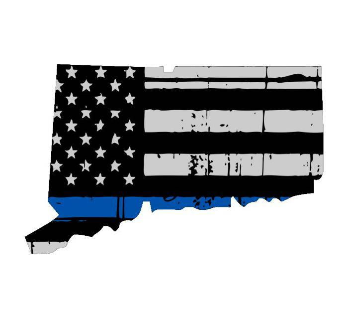 Thin Blue line decal - State of Connecticut Thin Blue Line Grey tattered Flag Decal - Various Sizes