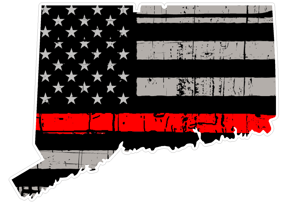 Thin Red line decal - State of Connecticut Thin Red Line Grey tattered Flag Decal - Various Sizes