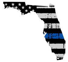 Thin Blue line decal - State of Florida Grey Tattered Flag Decal - Various Sizes