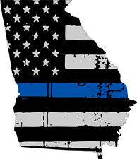 Thin Blue line decal - State of Georgia Grey Tattered Flag Decal - Various Sizes