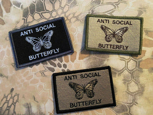 Anti Social Butterfly Monarch Morale Funny Patches 3x2""