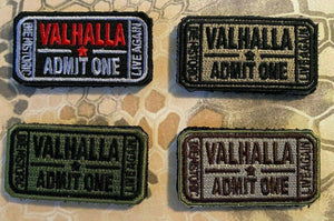 Valhalla Admit One Velcro Morale Funny Patches 2""