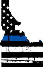 Thin Blue line decal - State of Idaho Tattered Flag Decal - Various Sizes