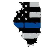 Thin Blue line decal - State of Illinois Grey Tattered Flag Decal - Various Sizes