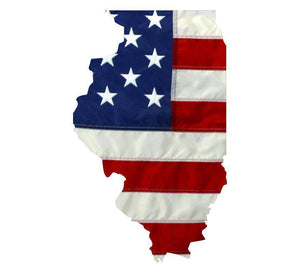 State of Illinois Realistic American Flag Window Decal - Various Sizes