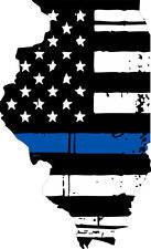 Thin Blue line decal - State of Illinois Tattered Flag Decal - Various Sizes