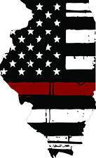 Thin Red line decal - State of Illinois Tattered Flag - Various Sizes