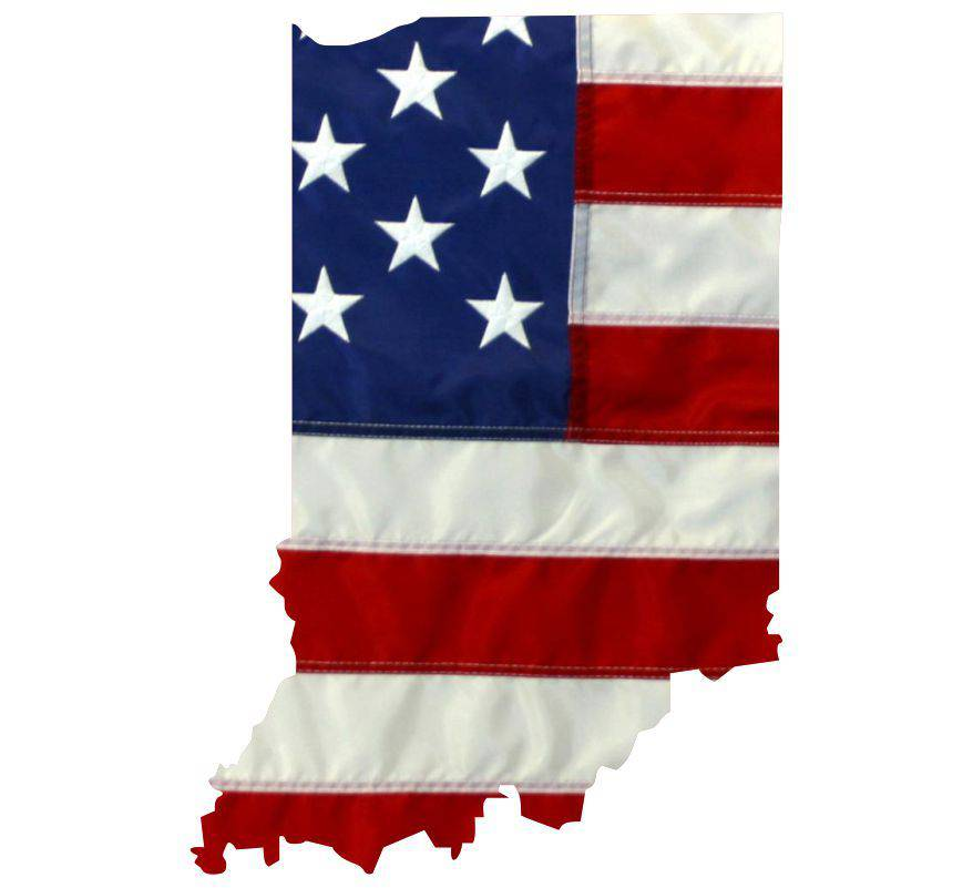 State of Indiana Realistic American Flag Window Decal - Various Sizes