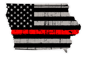 Thin Red line decal - State of Iowa Grey Tattered Flag - Various Sizes