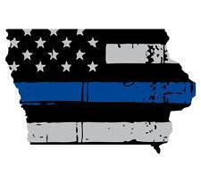 Thin Blue line decal - State of Iowa Grey Tattered Flag Decal - Various Sizes