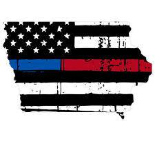 Thin Blue Red line decal - State of Iowa tattered Flag Decal - Various Sizes