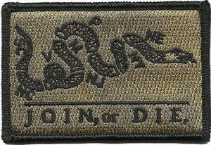 BuckUp Tactical Morale Patch Hook Join or Die Gadsden Snake DTOM Patches 3x2""