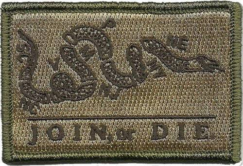 BuckUp Tactical Morale Patch Hook Join or Die Gadsden Snake DTOM Patches 3x2