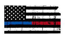 Thin Blue Red line decal - State of Kansas tattered Flag Decal - Various Sizes