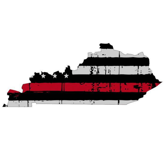 Thin Red line decal - State of Kentucky Thin Red Line Grey tattered Flag Decal - Various Sizes