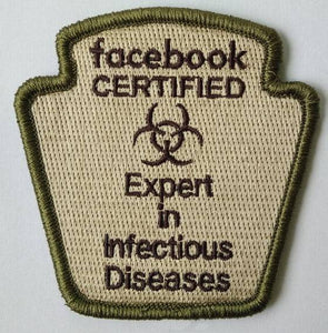 Facebook FB Experts in Infectious disease Morale Funny Patches 3x2""