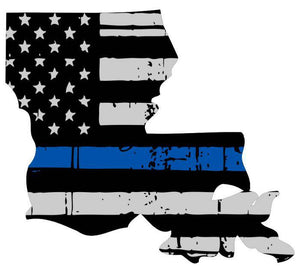 Thin Blue line decal - State of Louisiana Thin Blue Line Grey tattered Flag Decal - Various Sizes