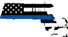 Thin Blue line decal - State of Massachusetts Tattered Flag Decal - Various Sizes