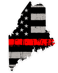 Thin Red line decal - State of Maine Grey Tattered Flag - Various Sizes