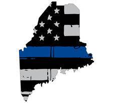 Thin Blue line decal - State of Maine Grey Tattered Flag Decal - Various Sizes