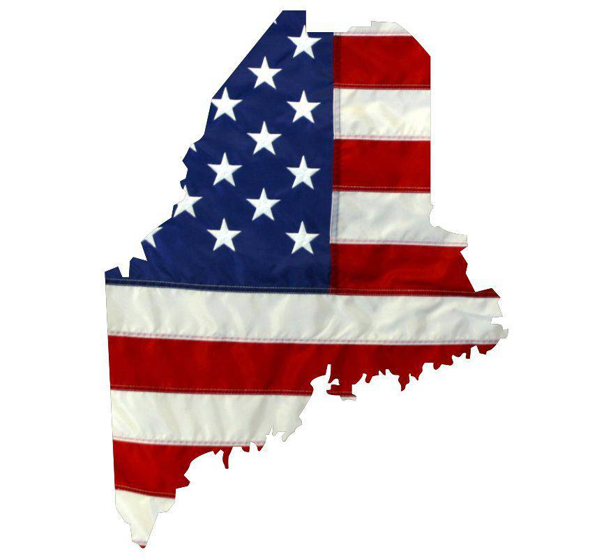 State of Maine Realistic American Flag Window Decal - Various Sizes