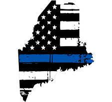 Thin Blue line decal - State of Maine Tattered Flag Decal - Various Sizes