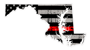 Thin Red line decal - State of Maryland Grey Tattered Flag Decal - Various Sizes